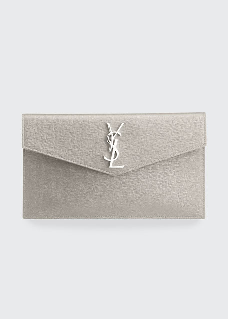 Uptown Medium Ysl Monogram Grain De Poudre Clutch Bag by Saint Laurent