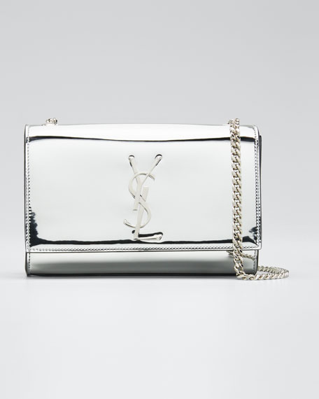 New Kate Small YSL Monogram Metallic Crossbody Bag