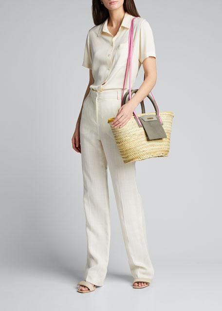 Woven Colorblock Basket Tote Bag