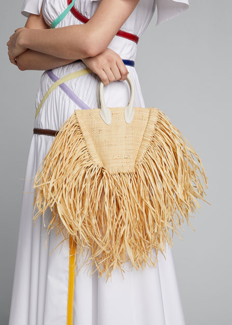 Le Petit Mini Raffia Fringe Tote Bag