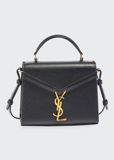 Cassandra Small YSL Monogram Grain Leather Top-Handle Bag