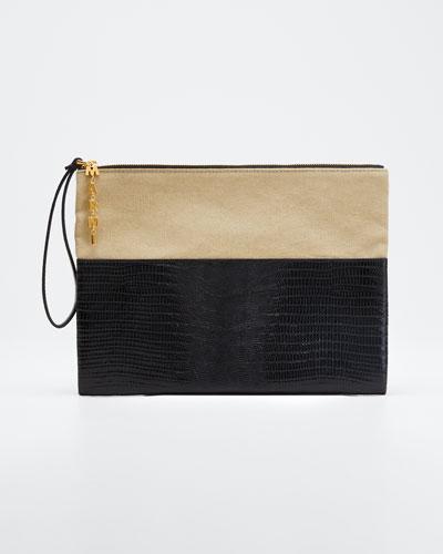 Canvas and Lizard Pochette Wallet
