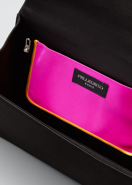 Paola Colorblock Leather & Satin Clutch Bag