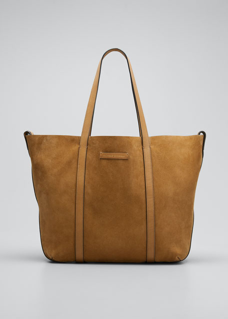 Image 1 of 1: Large Reversible Suede & Leather Tote Bag