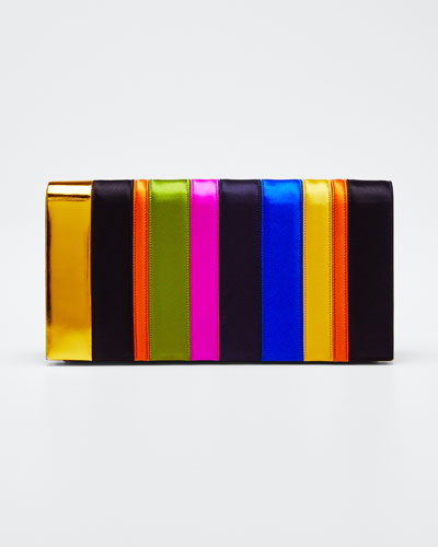 Nina Rainbow Satin Clutch Bag