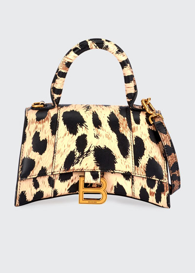 Hour XS Leopard-Print Leather Top-Handle Bag