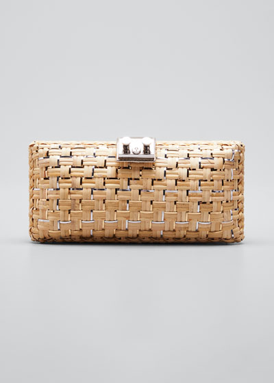 Woven Wicker Clutch Bag
