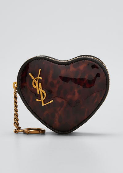 YSL Printed Patent Heart Wristlet