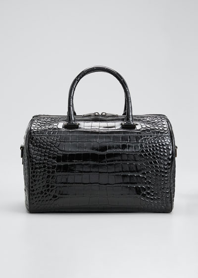 YSL Mock-Croc Top Handle Duffle Bag