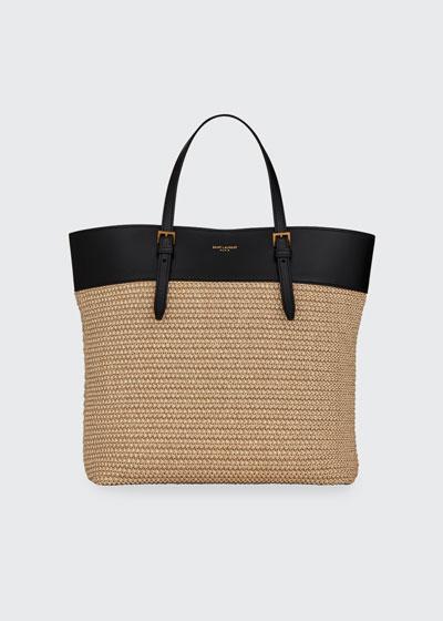 YSL Raffia Small Shopper Tote Bag