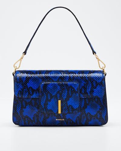 Magic Python-Print Leather Shoulder Bag