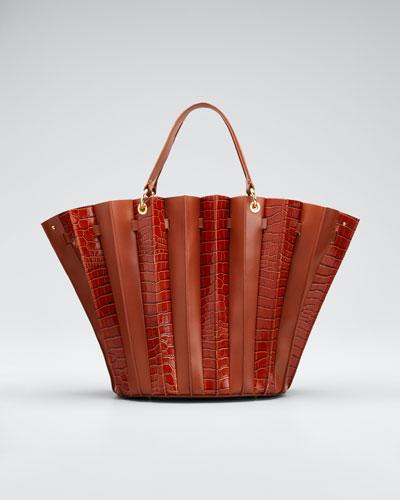 Teodora Leather Plisse Tote Bag
