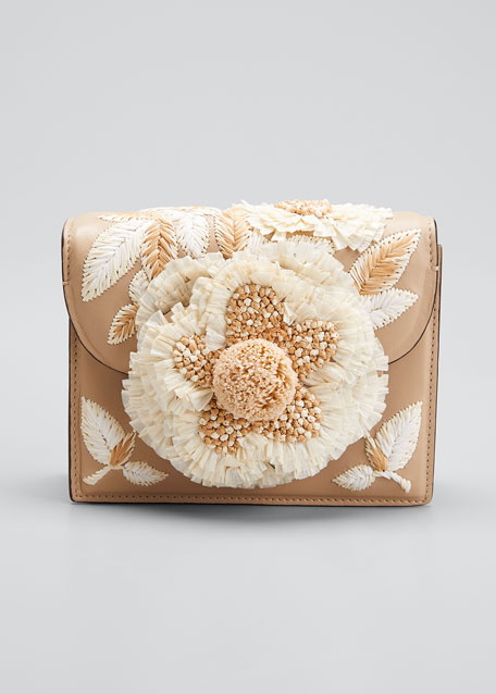 Tro Mini Napa Shoulder Bag with Raffia Embroidery