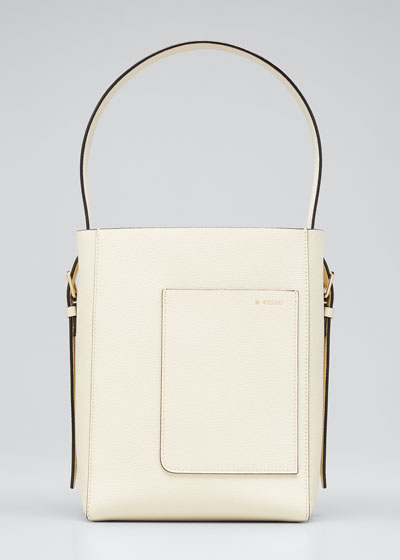 Pebbled Leather Top Handle Bucket Tote Bag