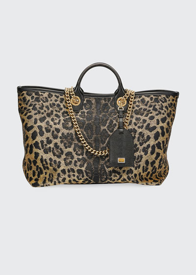 Capri Large Leopard Shopping Tote Bag