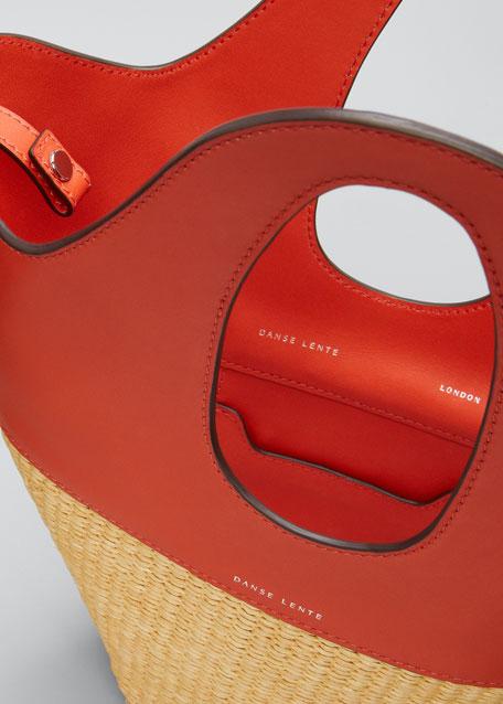 Two-Tone Top Handle Tote Bag, Orange
