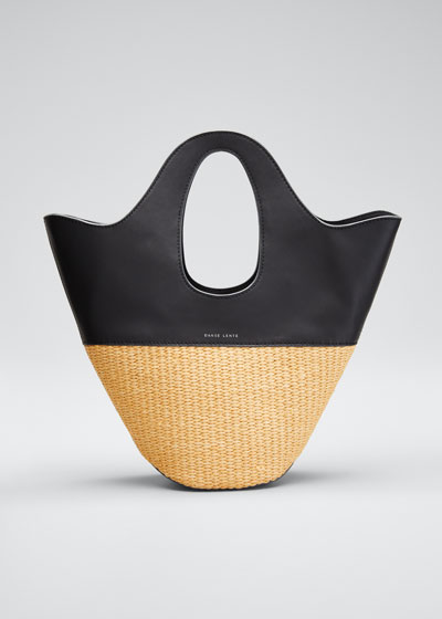 Two-Tone Top Handle Tote Bag  Black