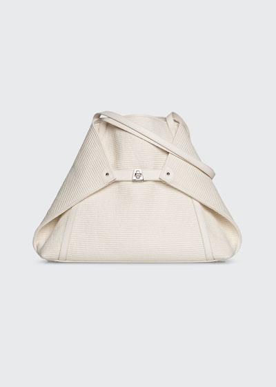 Ai Medium Soft Raffia Fabric Shoulder Tote Bag