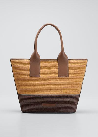 Two-Tone Raffia Tote Bag