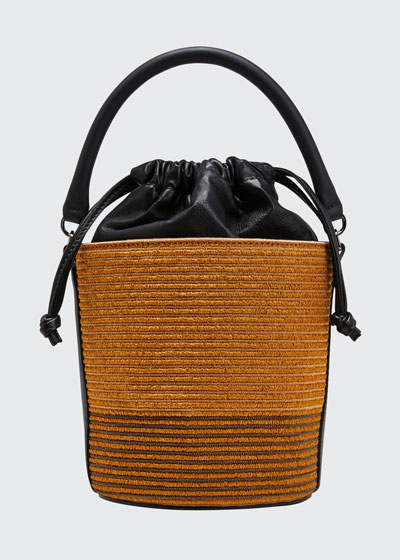 Raffia Leather Top-Handle Bucket Bag