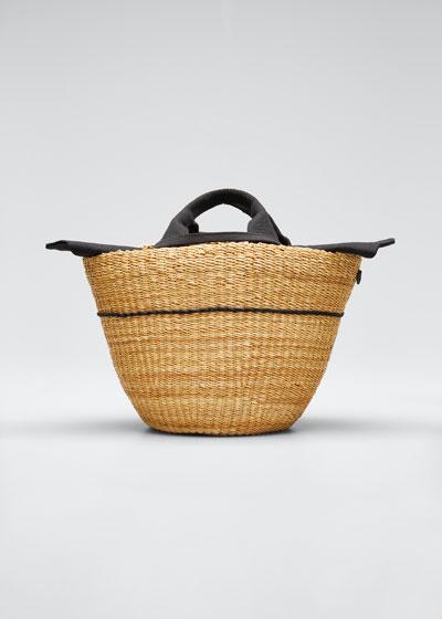 Woven Basket Tote Bag