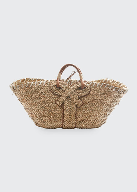 Large Basket Bow Tote Bag in Natural Seagrass