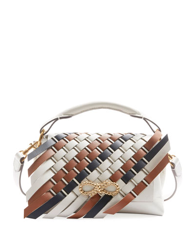 Rope Bow Bag Mini Woven Flap in Soft Leather