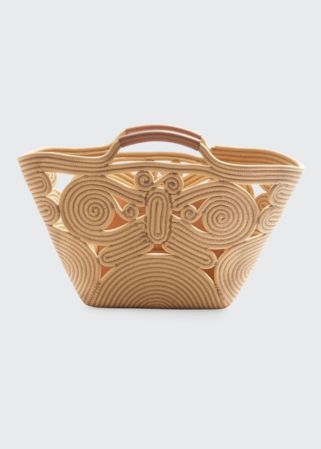Butterfly Woven Rope Tote Bag