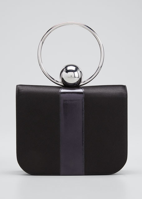 Celeste Satin & Leather Top-Handle Bag