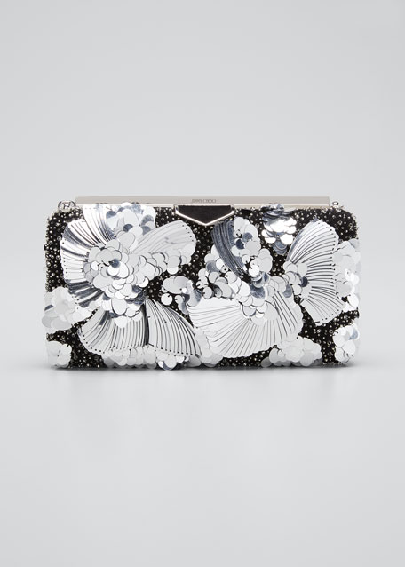 Image 1 of 1: Ellipse Yue Clutch Bag with Flower