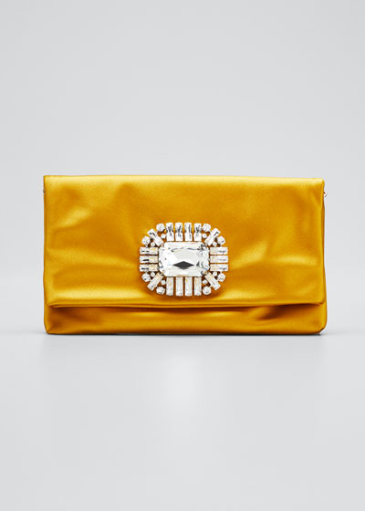 Titania Jeweled Satin Clutch Bag  Yellow