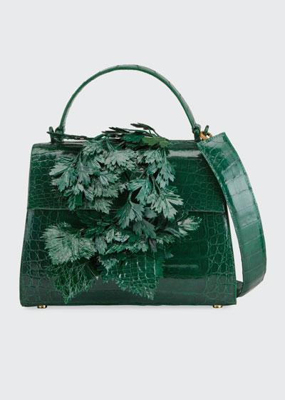 Lexi Crocodile 3D Leaf Top Handle Bag