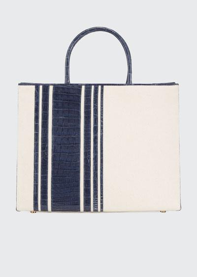 Emma Medium Stripe Crocodile Tote Bag