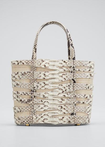 Zebra Small Python/Linen Tote Bag
