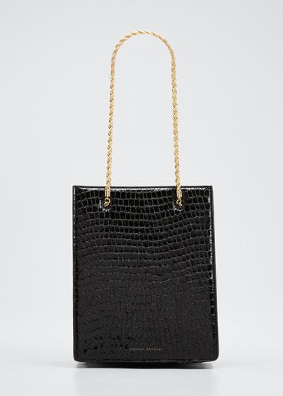 Antoinette Mock-Croc Chain Tote Bag