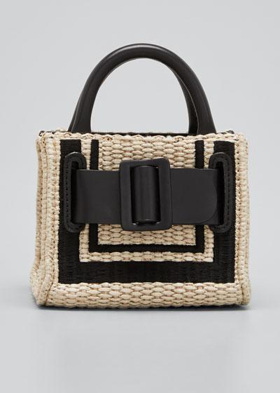 Bobby Surreal Belted Raffia Top Handle Bag
