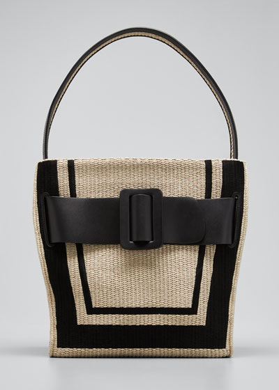 Devon 30 Two-Tone Raffia Shoulder Bag