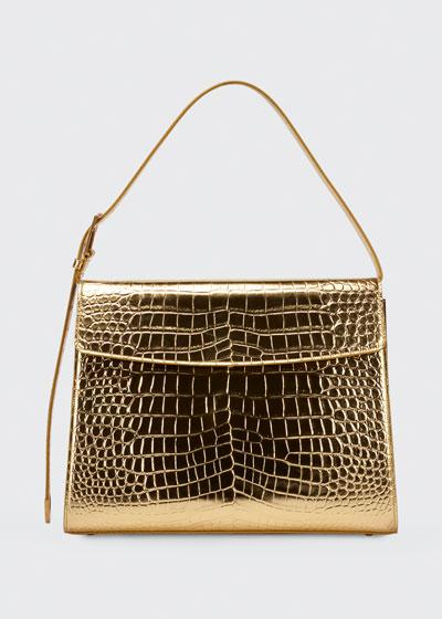 Ghost Metallic Mock-Croc Shoulder Bag