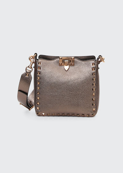 Rockstud Mini Vitello Stampa Laminato Leather Hobo Bag