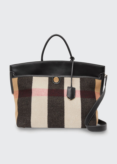 Image 1 of 1: Society Vintage Check Merino Wool & Cashmere Top-Handle Bag
