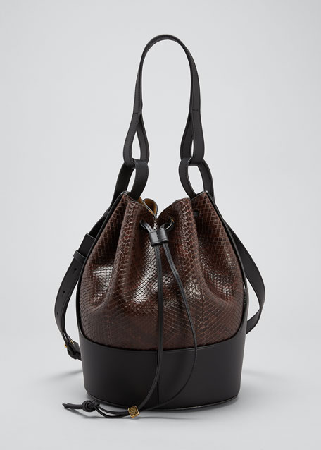 Image 1 of 1: Balloon Bicolor Python Bucket Bag