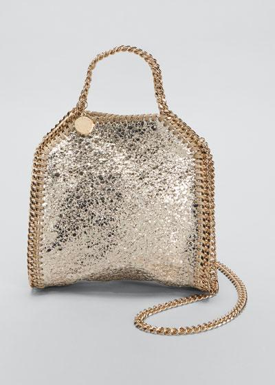 Falabella Tiny Metallic Crackle Shoulder Tote Bag