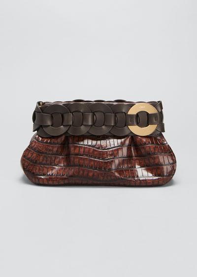 Darryl Shiny Croc-Embossed Clutch Bag