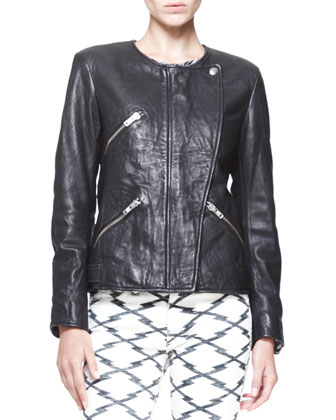 Bradi Zip-Front Leather Jacket