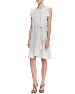 Isabel Marant Etoile Sleeveless Ruffled Tie-Waist Dress