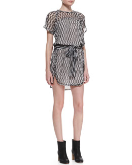 Isabel Marant Etoile Zaggy Silk Short-Sleeve Tie-Waist Dress