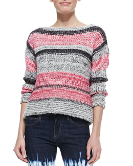 Isabel Marant Etoile Pit Striped Bateau Sweater, Fuchsia