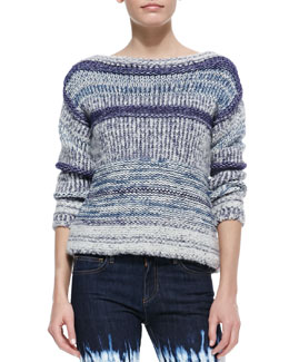 Isabel Marant Etoile Pit Striped Bateau Sweater, Blue