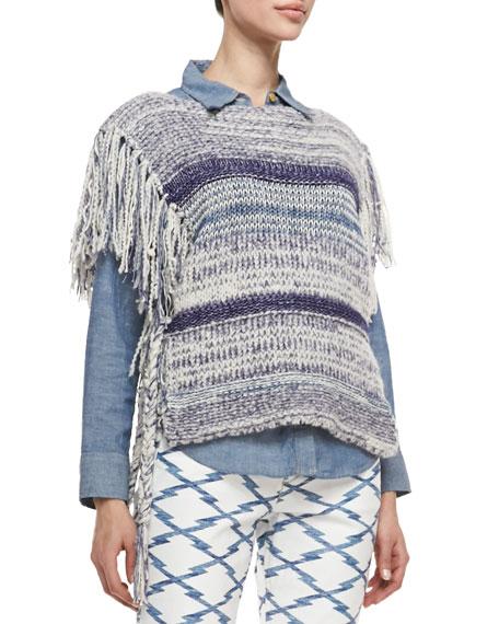 Peyton Striped Knit Fringe Poncho