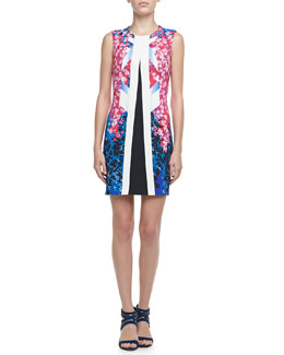 Peter Pilotto Floral Center-Stripe Shift Dress